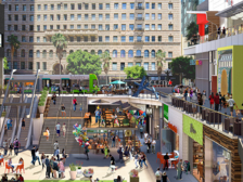 Outdoor plaza at The Bloc in Downtown Los Angeles