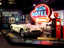 """1960 Corvette and """"Western Motel"""" neon sign from """"Route 66"""" at the Autry"""