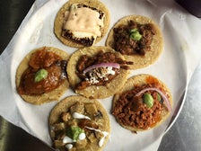 Taco sampler plate at Guisados