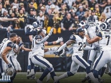 The Rams celebrate after Greg Zuerlein's game-winning field goal