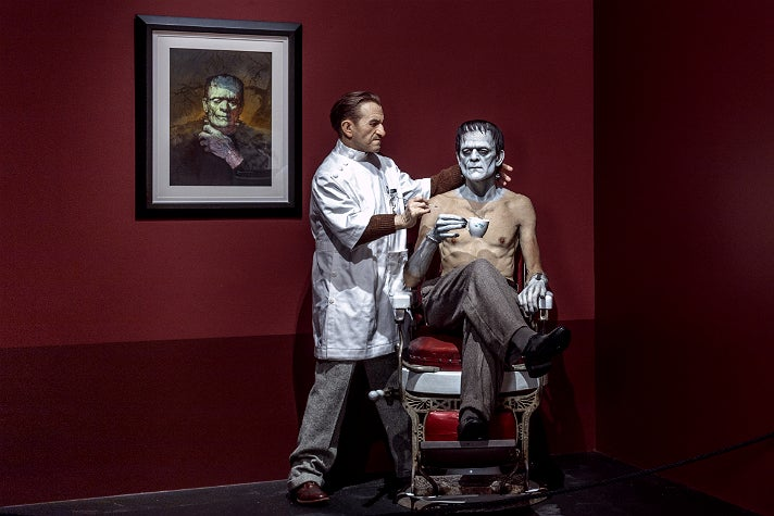 "Jack Pierce and Boris Karloff sculpture by Mike Hill at ""Guillermo del Toro: At Home with Monsters,"" LACMA"