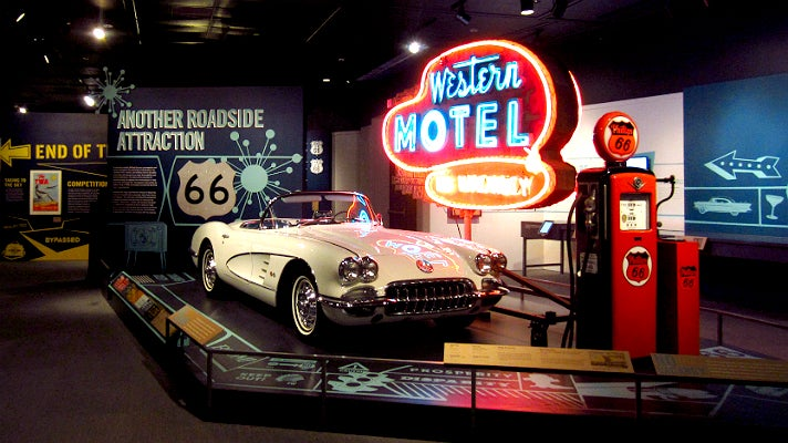 "1960 Corvette and ""Western Motel"" neon sign from ""Route 66"" at the Autry"