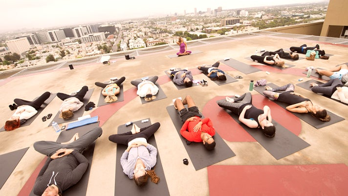 Rooftop yoga at Four Seasons Hotel Los Angeles at Beverly Hills