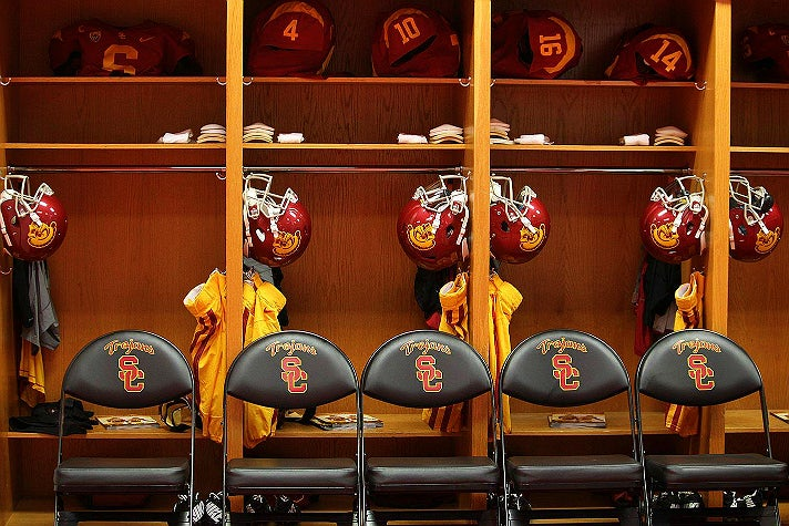 USC Trojans locker room at Los Angeles Memorial Coliseum