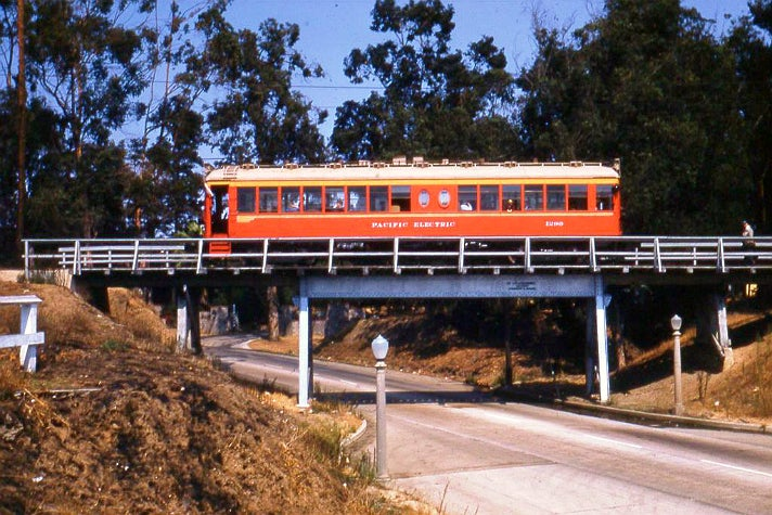 Pacific Electric Railway Streetcar 1299 at Motor Avenue on Exposition aka Santa Monica Air Line (Sept. 27, 1953)