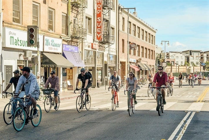 1st Street in Little Tokyo at CicLAvia: Heart of L.A.