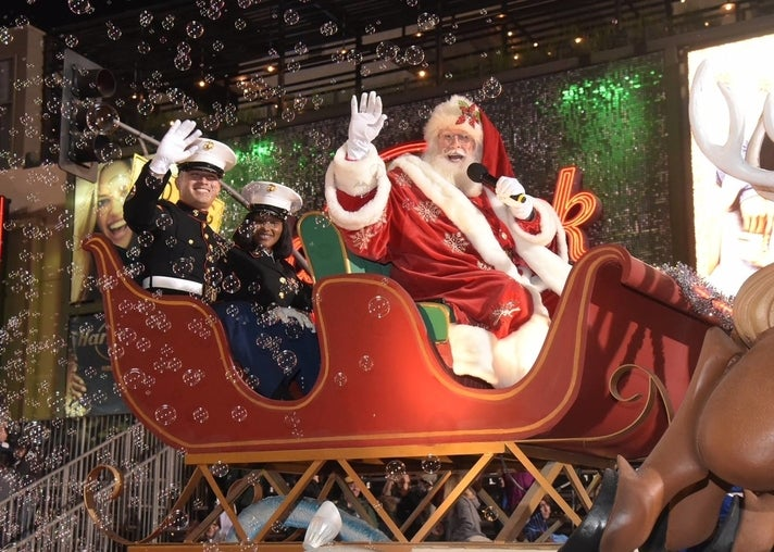 Santa and Marines in the Hollywood Christmas Parade