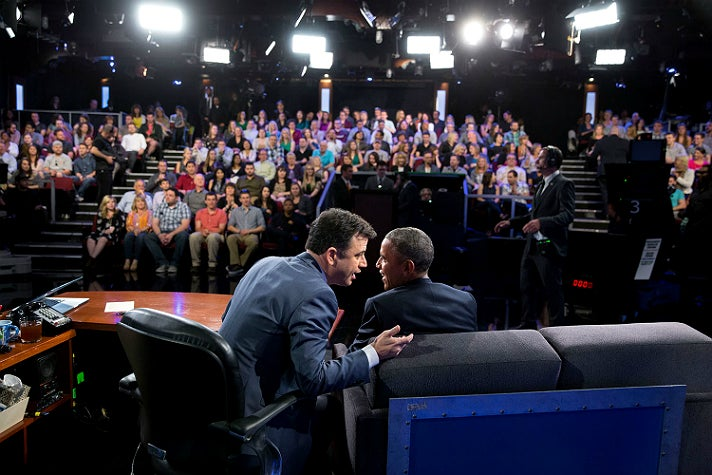 "President Barack Obama and Jimmy Kimmel on the set of ""Jimmy Kimmel Live!"" in Hollywood, March 12, 2015"