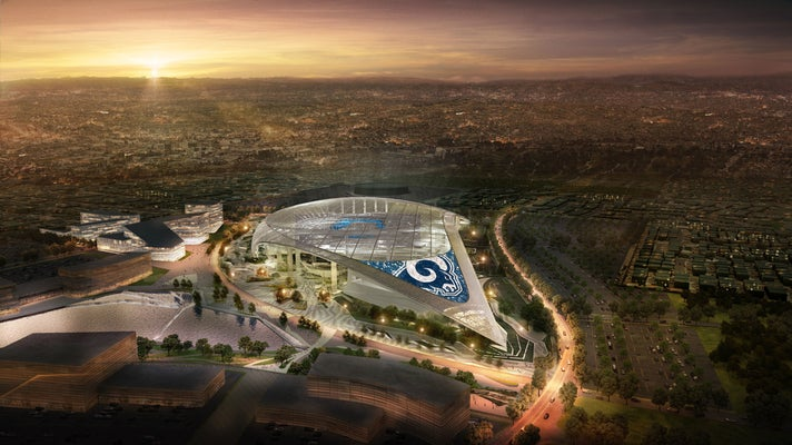L.A. Stadium at Hollywood Park with Los Angeles Rams logo
