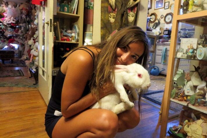 Jessica Doecent and friend at The Bunny Museum