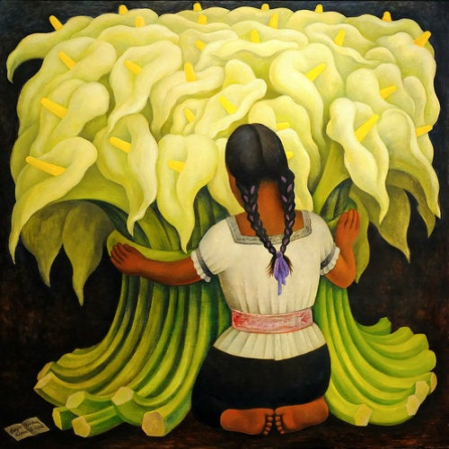"""The Flower Vendor (Girl with Lilies)"" by Diego Rivera at Norton Simon Museum"