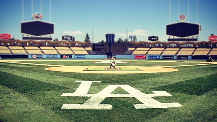 On the field at Dodger Stadium