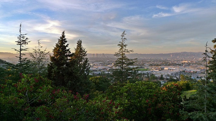Sunset view, looking north from Kenneth Hahn State Recreation Area