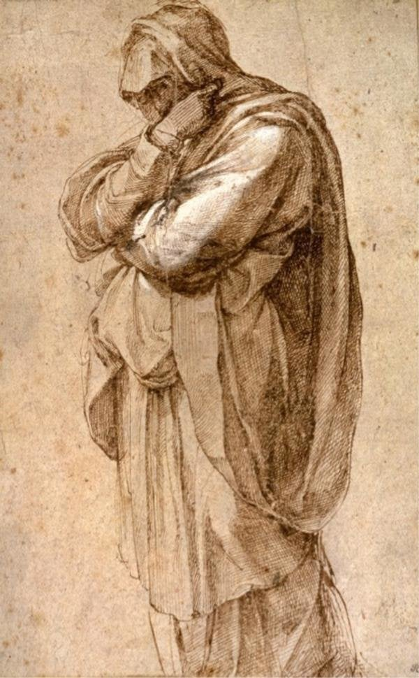 "Michelangelo Buonarroti, ""Study of a Mourning Woman"" at the Getty Center"